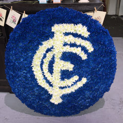 Fresh flower Carlton Football emblem for funeral, memorial service