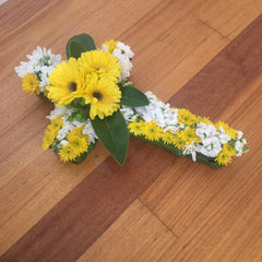 Fresh floral cross for memorial funeral service Melbourne bayside