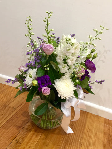 Funeral service flowers, Vase of flowers for funeral parlour.