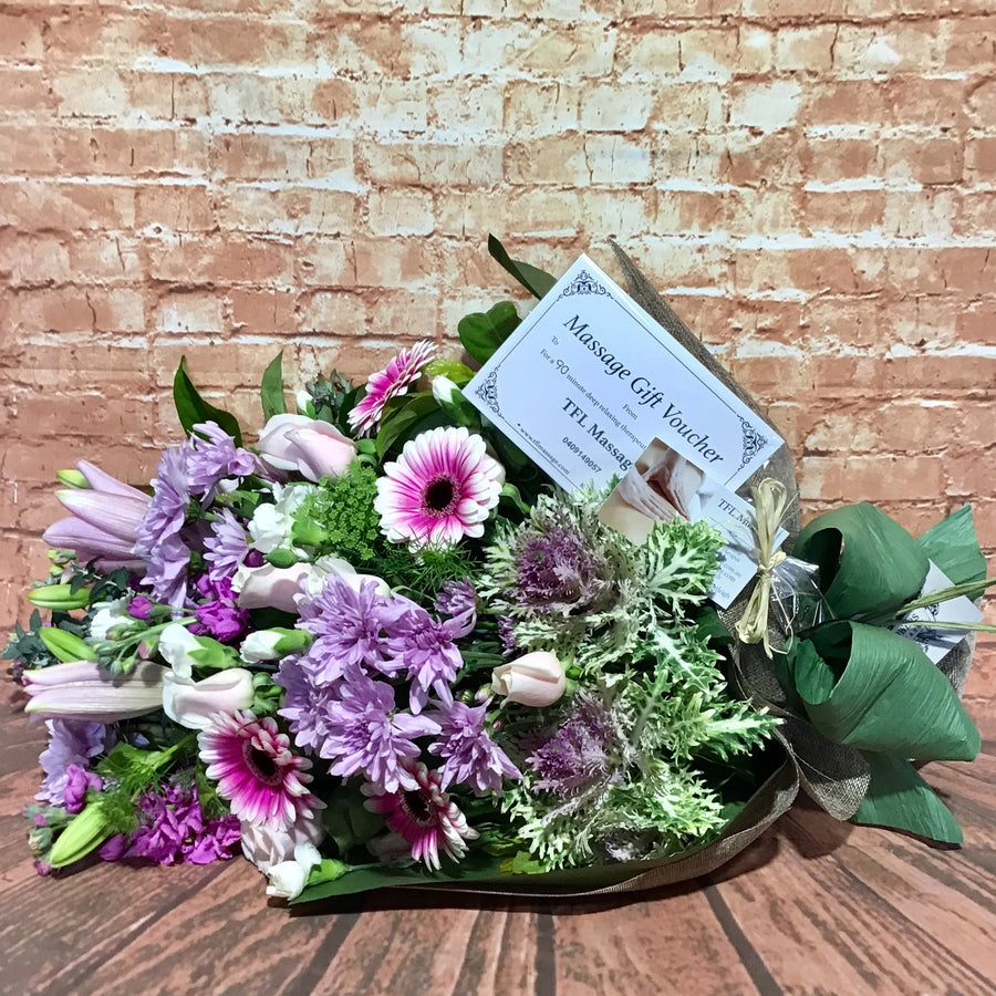 Flowers and a 60 minute therapeutic massage voucher (Bentleigh)