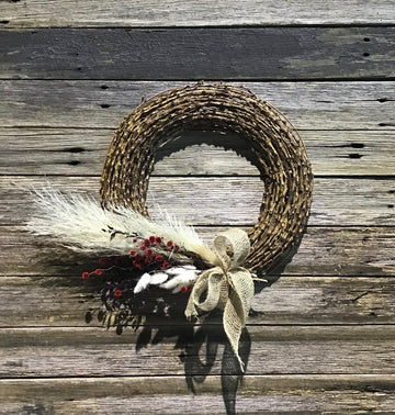 Christmas wreath of dried flowers