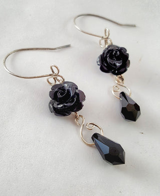 Rose SWAROVSKI Teardrop Earrings - Black