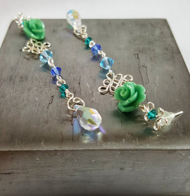 SWAROVSKI Long Drop Earrings - Blue Rose
