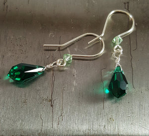 SWAROVSKI Teardrop Earrings - Emerald Green