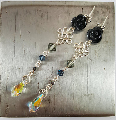 SWAROVSKI Drop Earrings - Black Rose