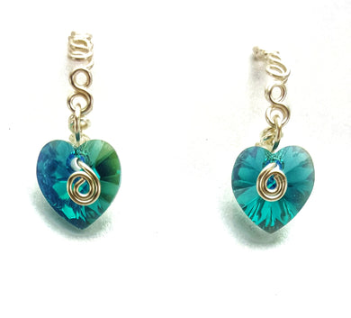 Bubble Hoop SWAROVSKI Heart Earrings - Blue Bayou
