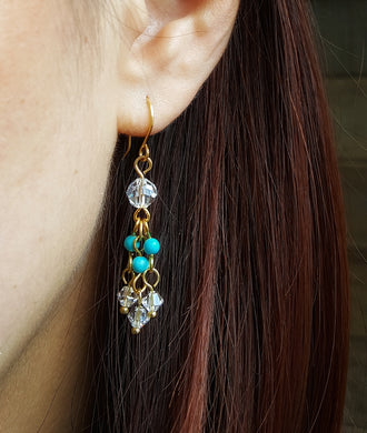SWAROVSKI Earrings - Chandelier - Turquoise 2