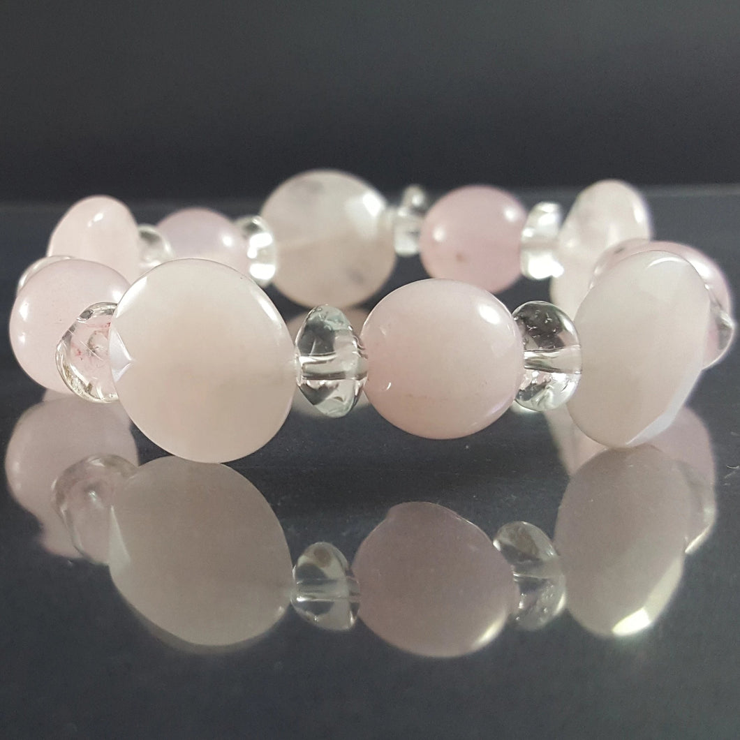 Rose Quartz Bracelet with Clear Quartz
