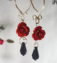 Rose SWAROVSKI Teardrop Earrings - Red