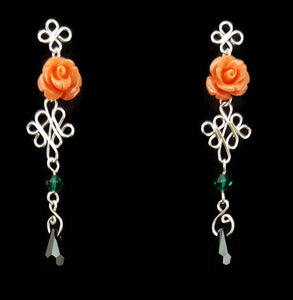 SWAROVSKI Drop Earrings - Peach Rose
