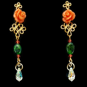 SWAROVSKI Long Drop Earrings - Peach Rose