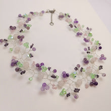 Whimsical Necklace and Hair Vine - Sweet Pastel Rose Quartz and Amethyst