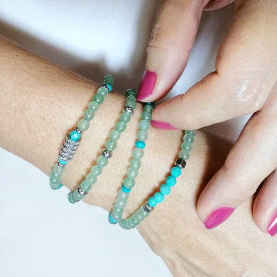 Green Aventurine Bracelet with Turquoise - 4mm