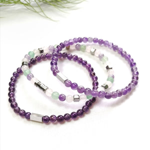 Aventurine, Amethyst, Rose Quartz Bracelet Set - 4mm