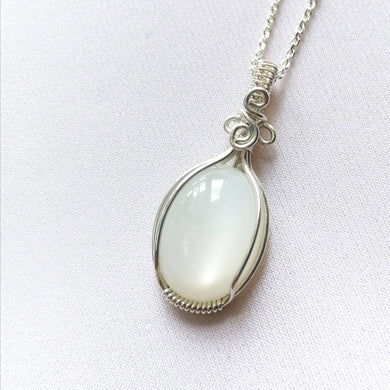 White Moonstone Sterling Silver Pendant