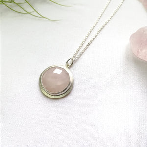 Faceted Rose Quartz Sterling Silver Pendant