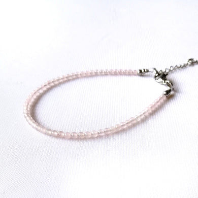 Skinny Rose quartz Bracelet - 2mm