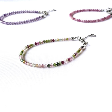 Skinny Multi Coloured Tourmaline Bracelet - 2.5mm