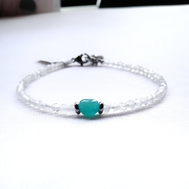 Skinny Amazonite and Moonstone Bracelet - 3mm