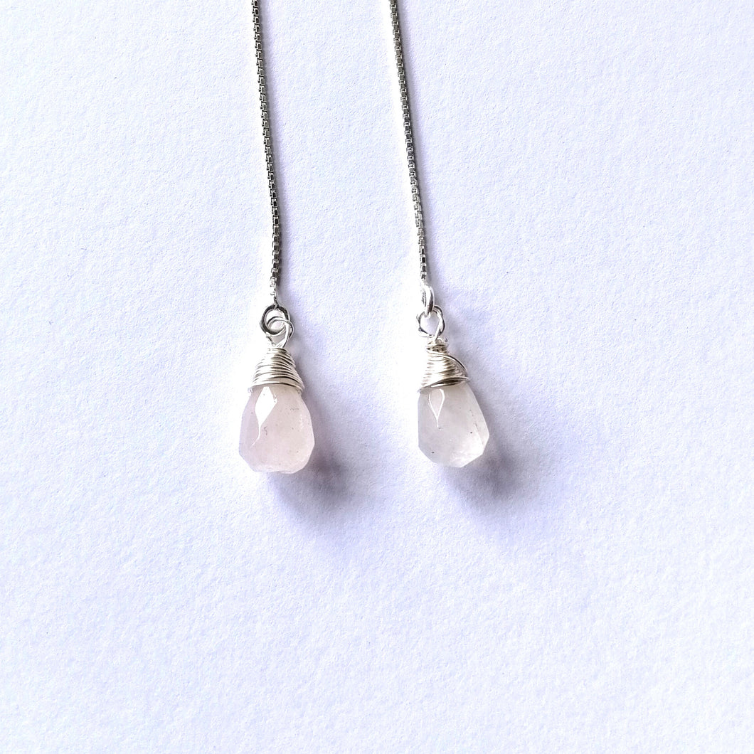 Angel Tears Threader Earrings - Rose Quartz