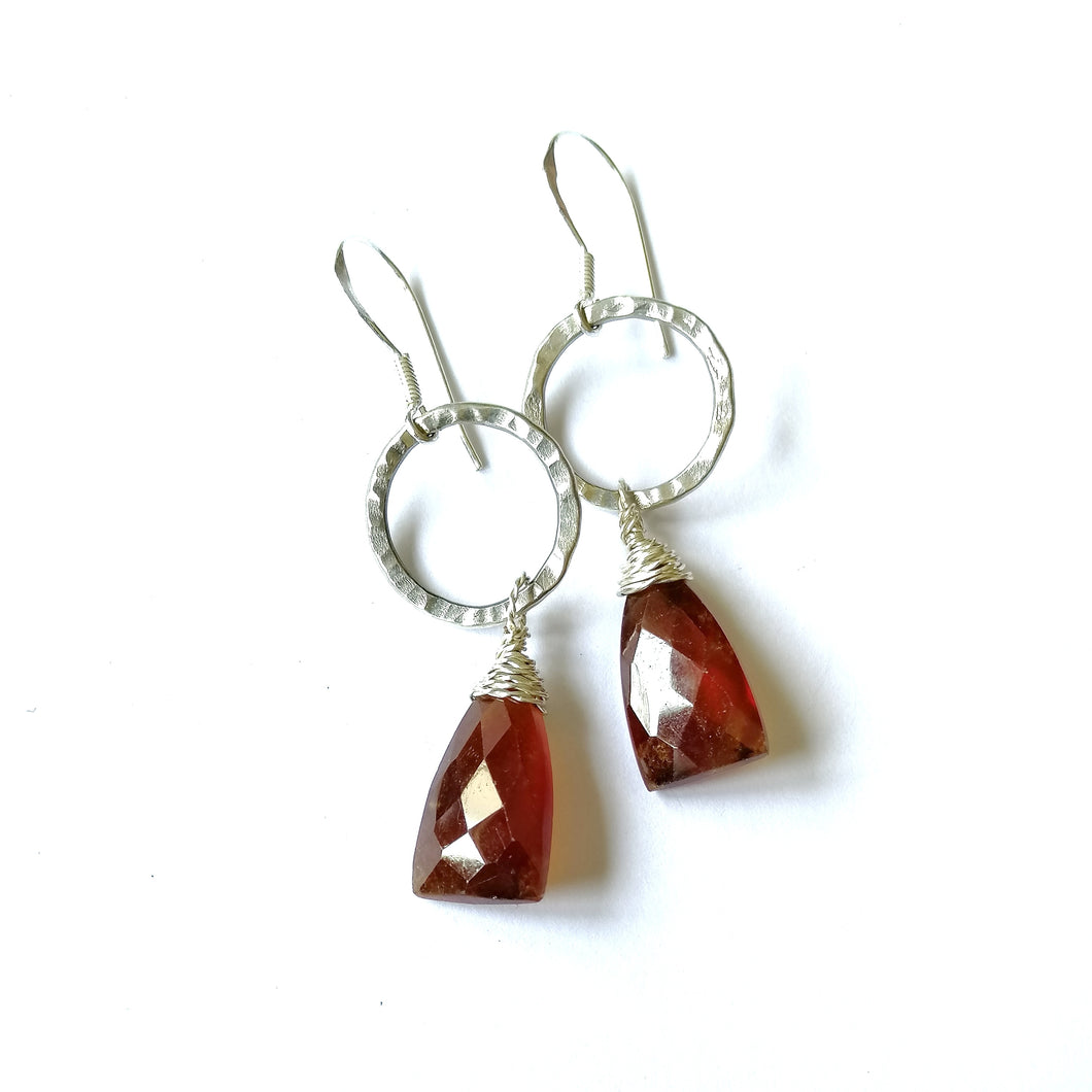 Hammered Band Earrings - Garnet