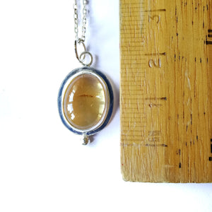 Oval Citrine Sterling Silver Pendant