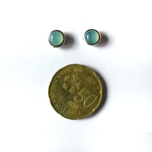 Hari-hari Ear Studs Earrings - Round Cab Aqua Chalcedony