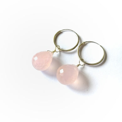 Everlast Earrings - Large Rose Quartz Teardrops