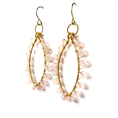 Jeslyn Earrings - Rose Quartz