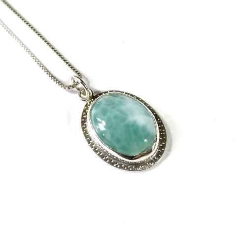 Larimar Sterling Silver Pendant - oval