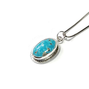 Turquoise Sterling Silver Pendant - Oval