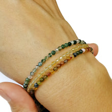 Skinny Faceted Water Agate Bracelet - 3mm
