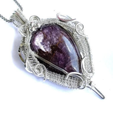 Lepidolite Sterling Silver Pendant - Goth