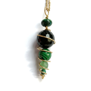 Spiral Pendulum - Onyx and Malachite