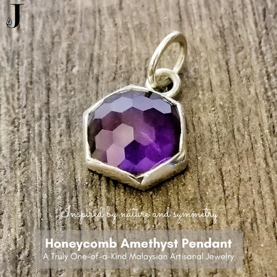 Honeycomb Amethyst Silver Pendant - One of a Kind