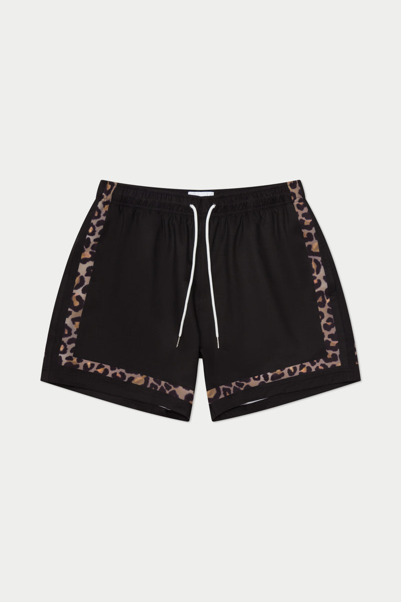 Black Leopard Game Swim Short