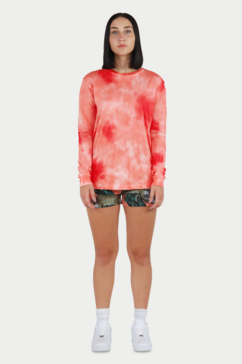 Coral Tie Dye Long Sleeve Tee