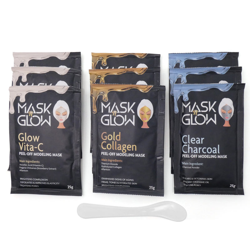 Pack of 9 Variety Gold Collagen, Clear Charcoal, Glow Vita-C Peel Off Modeling Mask Set With Spatula