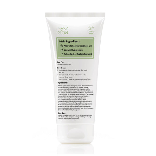 MaskNGlow Purifying Cream Mask - with Tea Tree Oil and Hyaluronic Acid