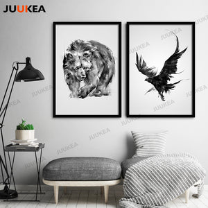 Black White Animal Nordic Poster