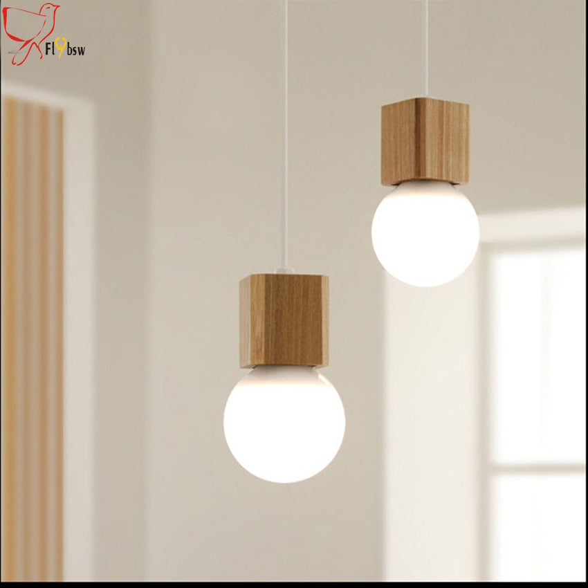 wood pendant lamps fixture 120cm colorful wire