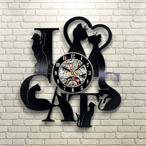 I Love Cats LED Wall Clock