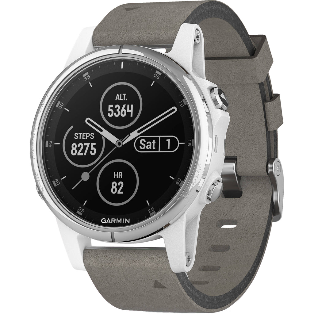 Garmin fēnix® 5S Plus Sapphire, White with Gray Suede Band