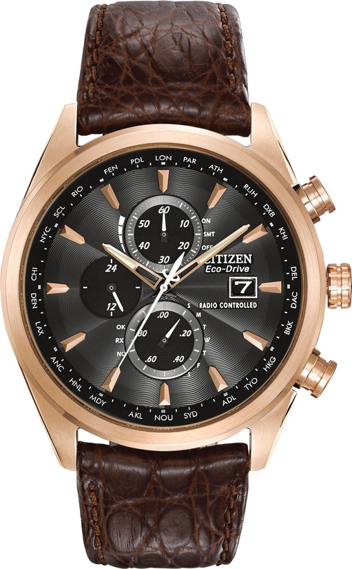AT8013-17E World Chronograph Black Dial Brown Leather Strap Men's Watch