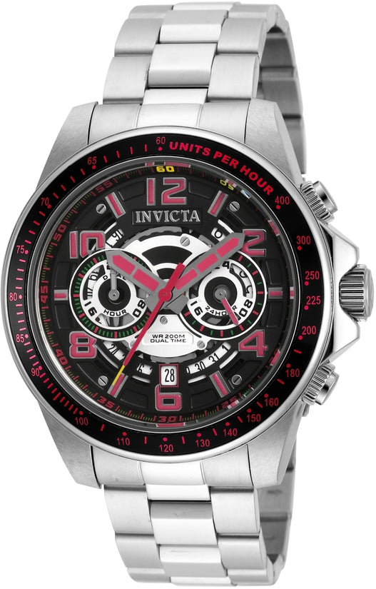 Speedway Men's Stainless Steel Black Dial