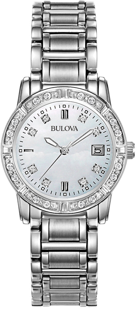 Diamond MOP Dial Stainless Steel Womens Watch 96R105
