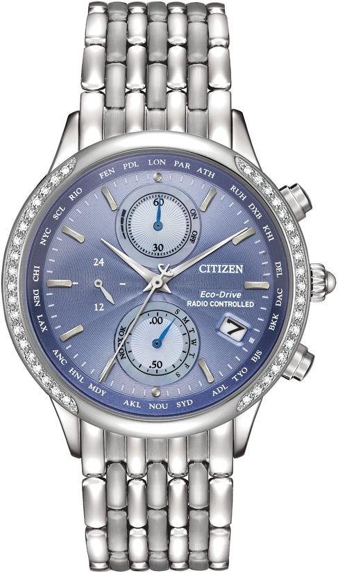 World Chronograph A-T 38 Diamonds Silver Tone