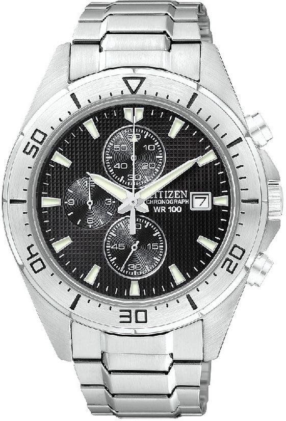 Chronograph Black Dial Stainless Steel Mens Watch AN3460-56E