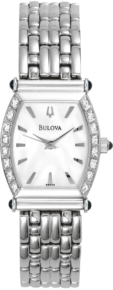 Diamond Accented Analog MOP Dial Stainless Steel Women's Watch 96R39