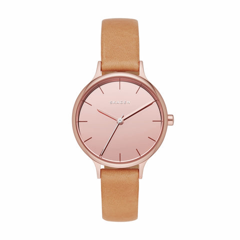 Anita Gray Dial Tan Leather